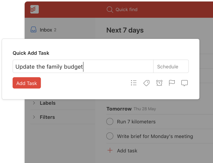 todoist quick add feature user interface